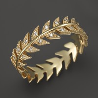 Mizuki 14K Yellow Gold Feather Eternity Band with Diamonds
