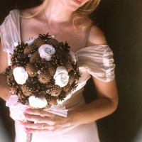Rustic pine cone wedding bouquet winter fall weddings