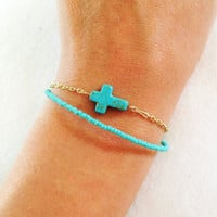 Turquoise Seed Bead Cross Chain Bracelet
