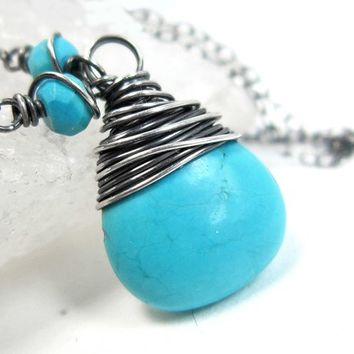 Turquoise Necklace, Sterling Silver Aqua December Birthstone Pendant