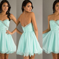Need to customize A-line Chiffon Strapless Sweetheart Mini Crystal Homecoming Prom Cocktail Dress 352SOD8680