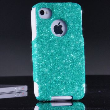 OtterBox Commuter Series Case for iPhone 4 4S - Custom Glitter Case for iPhone 4 4S - Wintermint/White