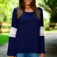 Just A Touch Blouse, Navy