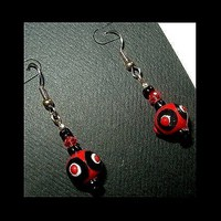 DEEP RED and BLACK Lightweight, Unique Handmade, Hand Painted, Dangle Earrings | whiteowldesigns - Jewelry on ArtFire