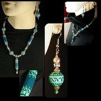 TEAL on TEAL with PEARLS and CRYSTAL  Unique Handmade, Hand Painted, Necklace and Earring Set | whiteowldesigns - Jewelry on ArtFire