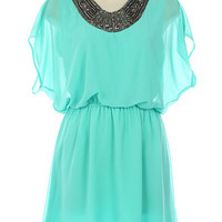 Teal Chiffon Dress with Embellished Neckline&amp;Elastic Waist