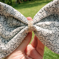 Grey Lace Hair Bow