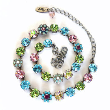 NEW Sugar Blossoms Swarovski crystal necklace in 8mm pastels, designer inspired crystal necklace