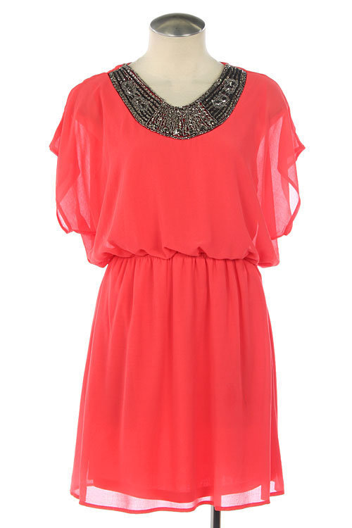 Beaded Elastic Waist Chiffon Dress