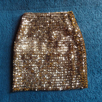 1980's golden sequined skirt