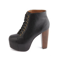 Lace-Up Wooden Heel Bootie by Charlotte Russe - Black