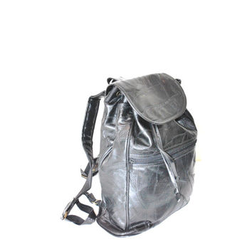 black patchwork leather backpack / 90s GRUNGE school bag