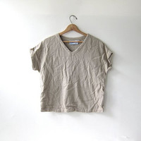Vintage cotton shirt. minimalist modern top. oatmeal beige natural.