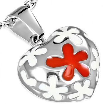 Stainless Steel 3-tone Red & Cream Color Enameled Flower Love Heart Charm Pendant