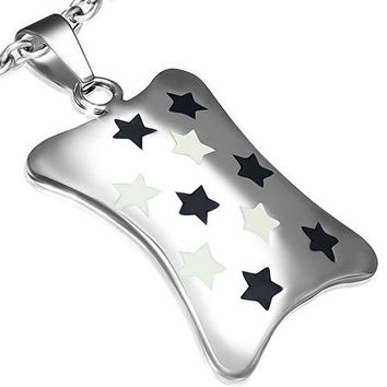 Stainless Steel 2-tone Shining Star Tag Pendant
