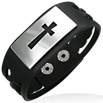 Black Rubber 2-tone Snap Bracelet w/ Stainless Steel Cross Watch-Style