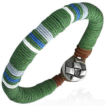 Fashion Multi Color Wrap Rope Leather Toggle Bracelet