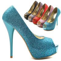 NEW Womens Platforms Pumps Stilettos Open Toe Multi Colored Glitter High Heels