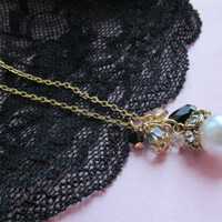 Pearl Drop Necklace- crystal beadcap pearl dangle with black crystal