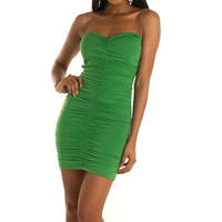 Green Sexy Exotic Ruched Bandage Tube Dress
