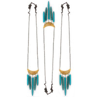 Turquoise howlite crescent necklace