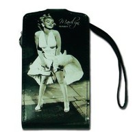 Licensed Black Marilyn Monroe Horizontal iPhone Pouch with Image of Marilyn Wearing Famous White Dress