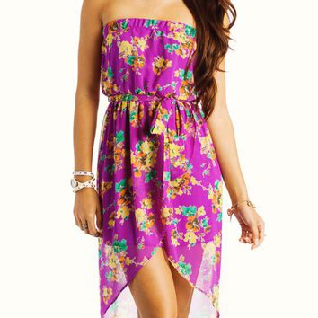 floral-chiffon-high-low-dress AQUA MAGENTA - GoJane.com