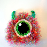 Monster hat - baby monster hat - photo prop for newborn - ready to ship - crochet baby hat