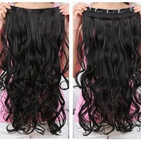 "Onedor 20"" Curly 3/4 Full Head Synthetic Hair Extensions Clip on/in Hairpieces 5 Clips 120g (1B-Off Black)"