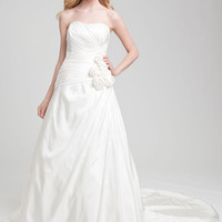 Buy Beautiful White A-line Scoop Neckline Wedding Dress under 200-SinoAnt.com
