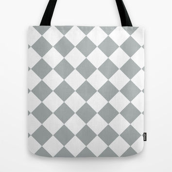 Diamond Grey & White Tote Bag by BeautifulHomes | Society6