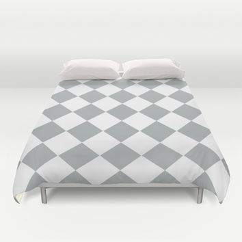Diamond Grey & White Duvet Cover by BeautifulHomes | Society6