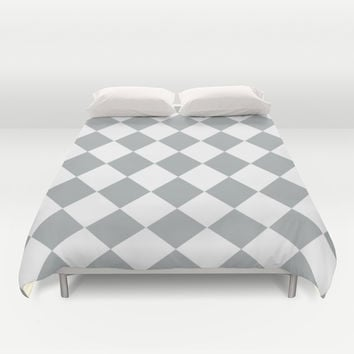Diamond Grey & White Duvet Cover by BeautifulHomes   Society6