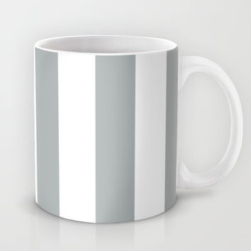 Stripe Vertical Grey & White Mug by BeautifulHomes | Society6