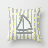 Sailboat, Dots and Stripes (Gray) Throw Pillow by Lisa Argyropoulos | Society6