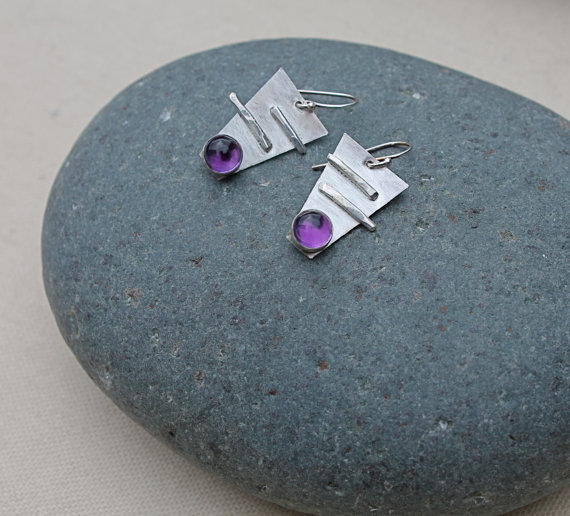 Amethyst sterling silver geometric earrings. Large amethyst stones. deep purple color. abstract. texture. design. February birthstone
