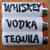 Whiskey Vodka Tequila White Bic Lighters