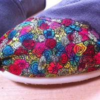 Hand-Painted, Multi-Colored Overflowing Floral TOMS Classics