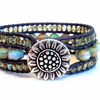 Pastel Cuff, Beaded Leather Cuff Bracelet, Sunflower Button, Chan Luu Inspired, PZW055