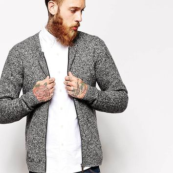 ASOS Lambswool Rich Bomber Cardigan at asos.com
