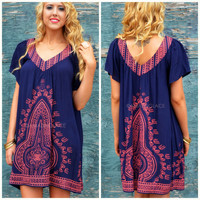 Barefoot Cottage Navy Embroidered Tunic Dress