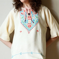 70s Tribal Hippie Tunic, vintage boho Mexican hand embroidered Southwestern pullover shirt, cream & sky blue, cherry red, orange, jade green