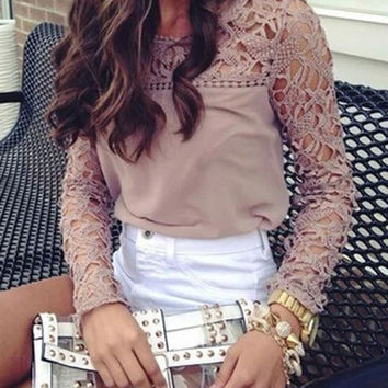 Bisque Lace Panel Blouse