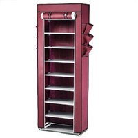 World Pride Shoe Cabinet 10-Tier Stand Rack Organizer with Fabric Cover (Wine Red)