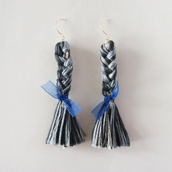 Black Braided Dangle Earrings. Braided Earrings with blue bows and Fish Hooks. Kawaii jewelry.