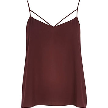 Dark red strappy cami top