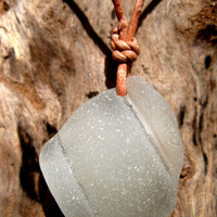 Hawaiian Beautiful Clear Bottle Mouth Beach Glass on India Leather, completely adjustable, Pendant Necklace
