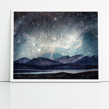 Northern lights vintage reproduction and modern galaxy art print. Teal, blue and purples home decor wall art.