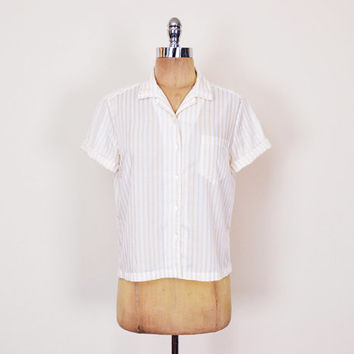 Beige & White Stripe Shirt Beige Stripe Blouse Stripe Top Short Sleeve Button Up Shirt 80s Shirt Preppy Shirt Women M Medium L Large