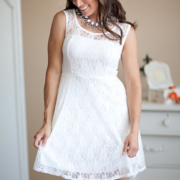Lace Skater Dress White